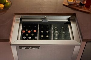 True Residential Slide-Top Beverage Refrigerator Ideal for Outdoor Oasis